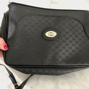 Rare Vintage GUCCI Purse in Black Canvas Leather
